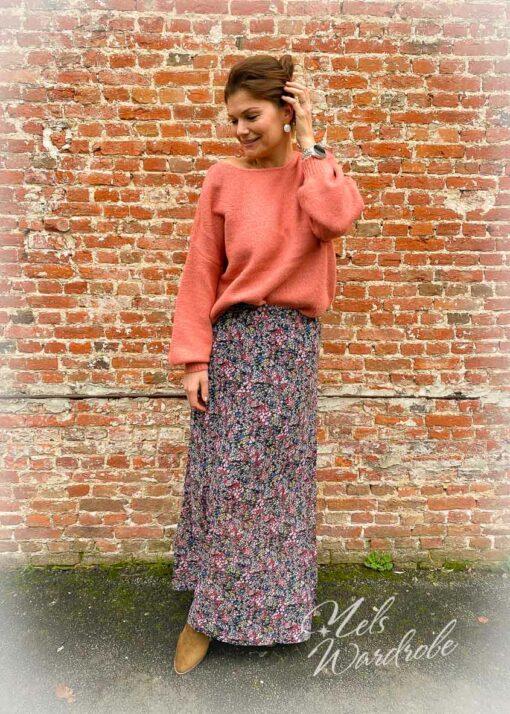 Lange rok met bloemenprint.