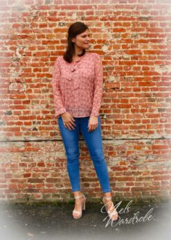 Blouse met print- bloemenprin,t- blouse met strik-onesize