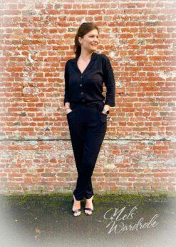 Zwarte jumpsuit met rekker in de taille