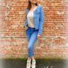 Blauwe jeans met boord van strass, high waist