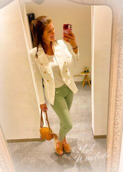 Kaki jeans met boord van strass, high waist