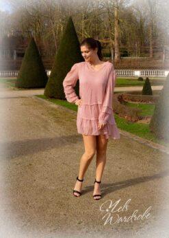 Kort roze jurk, los model, onesize