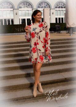 Jurk plisse - onesize - kleed met print en lange mouwen