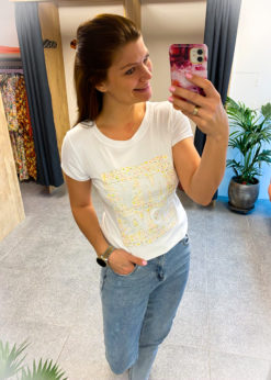 Witte t-shirt - vintage print