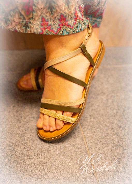 Sandaal met goud- kaki sandaal