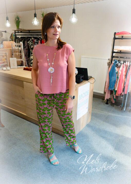 Pink top/blouse- korte mouw