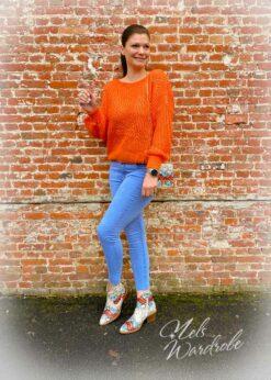 Jeans lichtblauw afgeknipt model