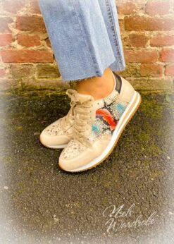 Sneaker beige- snake print