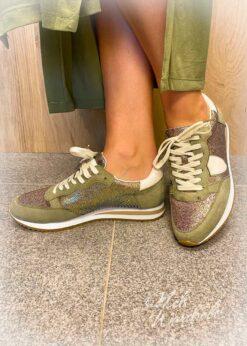 sneaker kaki met glitter