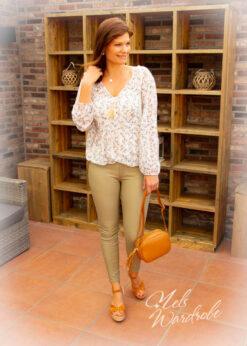 Kaki leather broek - skinny model