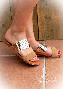 Slipper met riempjes - roze slipper