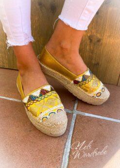 espadrilles - ethnic - gold