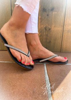 Slippers - strass- zwart - wit