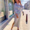 Gestreepte blouse - 3/4 mouw
