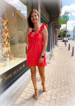 Korte jurk open rug - koraal
