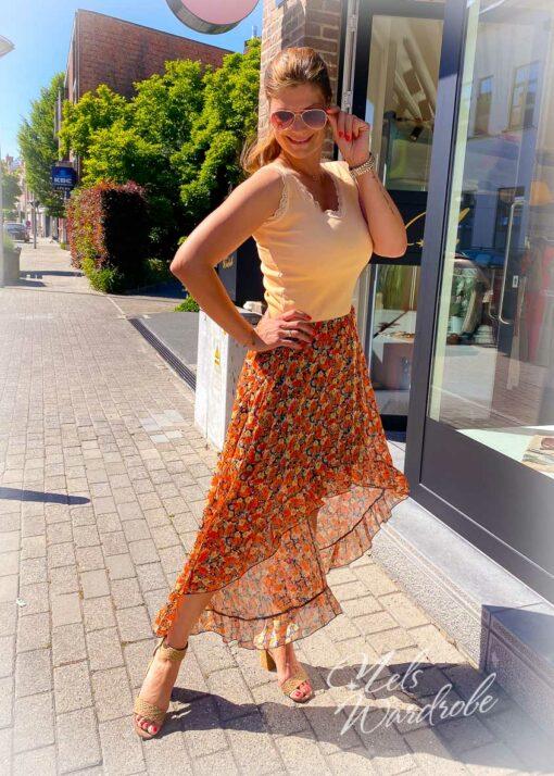 Maxi skirt - kort voorkant - ruches