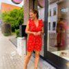 Rode korte jurk - glinsterdraad