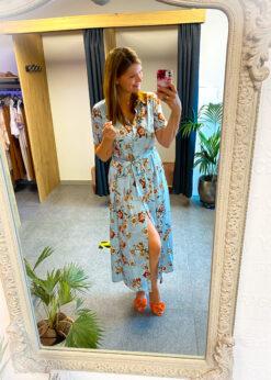 maxi dress- flowers - korte mouw