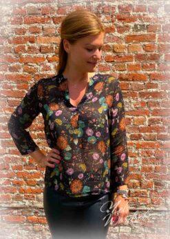 Zwarte blouse - flowers