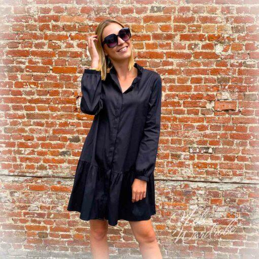 Black dress - popelin jurk - hemdjurk