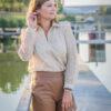 Kanten blouse, lace beige