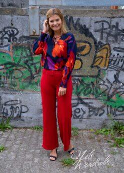 Rode wijde broek - high waist