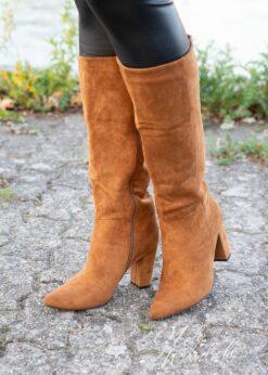 camel hoge laarzen - suede