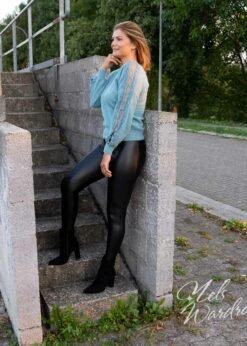 zwarte legging - leather look