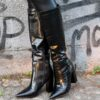 Zwarte hoge laarzen - choco print - black