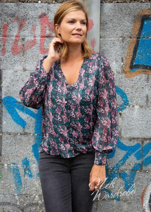 Groene blouse - flowers - lila