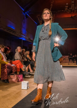 Petrole jurk - plisse rok