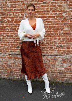 bruine leopard rok -satin skirt