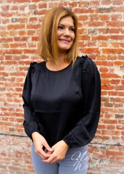 Zwarte blouse - ruches