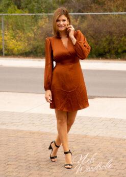 Satijnen jurk - lange mouw