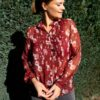 Rode blouse - flowers