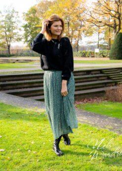 Groene plisse rok met print
