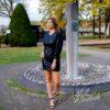 Zwarte jurk - leather look