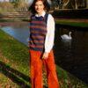 Ribfluwelen broek - hoge taille - brick