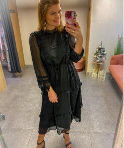 zwart kleedje met ruches